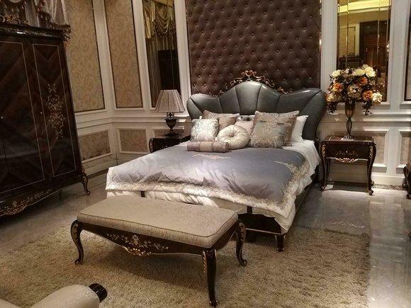 Edle Schlafzimmer Garnitur Doppelbett 2 Nachttische