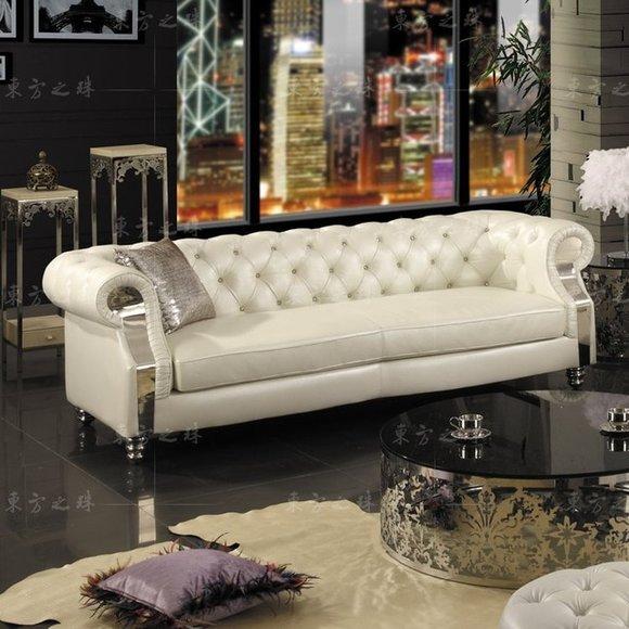Merveilleux Design Chesterfield Sofagarnitur 3 Sitzer Couch Leder Polster Modern Luxus  Sofa