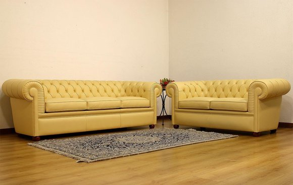 Design Chesterfield Sofa 3+2 Gelb Couch Polster Leder Sofas Wohnzimmer Sofa  Neu