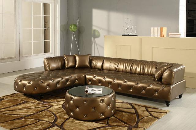 Chesterfield Luxus Wohnlandschaft Couch Polster Garnitur Ledersofa