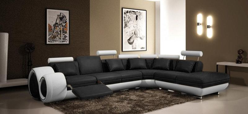 Jvmoebel ledersofa couch sofa ecksofa modell berlin v l form - Decoratie salon beige et marron ...