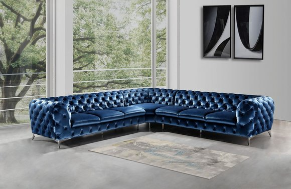 Design Chesterfield Ecksofa Eckcouch Loungesofa Couch Samt Textil Sofa LForm