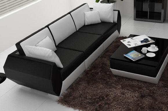 Ledersofa Couch Wohnlandschaft 3+3 Sitzer Garnitur Design Modern Sofa R7002C