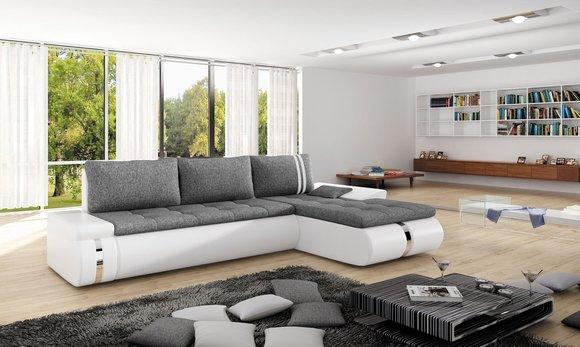Sofa Schlafsofa Designer Sofa Mit Bettfunktion + Bettkasten Ecksofa Couch  NEU Fado Mini