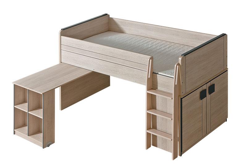 Hochbett mit Schreibtisch und Schrank 'Gumi'