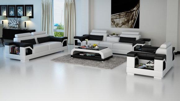 Ledersofa Couch Wohnlandschaft 3 2 1 Sitzer Garnitur Design Modern