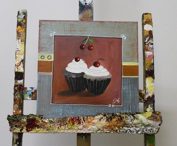 abstrakt malerei leinwand kuchen handarbeit rahmen l