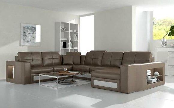 Wohnlandschaft Polster Ecke Eck Sofa Couch Leder Garnitur Landschaft Leder H2210