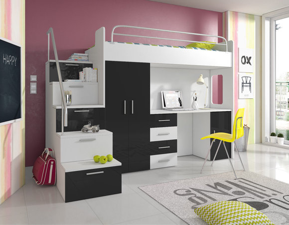 doppelstockbett stockbett bett etagenbett mit schreibtisch kleiderschrank raj 4 s schwarz. Black Bedroom Furniture Sets. Home Design Ideas