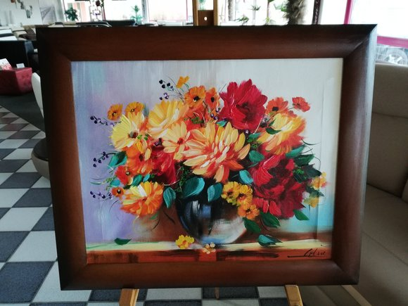 Gemälde Blumen Handarbeit Ölbild Bild Ölbilder Rahmen Bilder Kunst Sofort