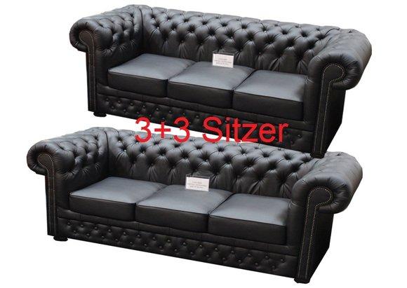 3+3 Sofagarnitur Couch Polster Chesterfield Sofa Lord Schwarz 2x 3 Sitzer