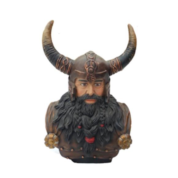 Büste Eines Kriegers in Einem Helm 70cm Hörnern Statue Wikinger Statuen Figuren
