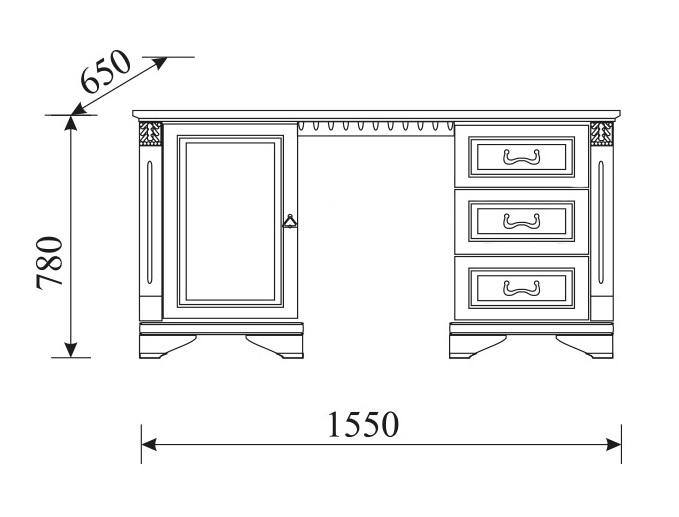 Klassischer Schreibtisch aus echtem Holz Kolonial Stil Tisch Sekretär Neu OMW