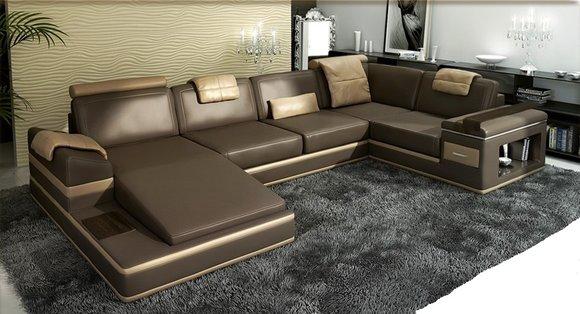 Ecksofa Sofa Couch Polster Leder Garnitur Wohnlandschaft Ecke Wohn