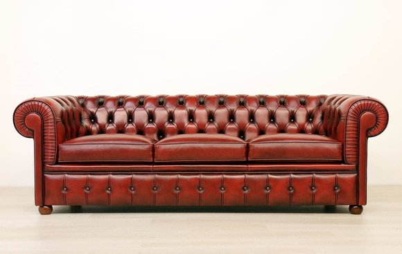 Design Chesterfield Sofagarnitur 3 Sitzer Leder Couch Rot Polster