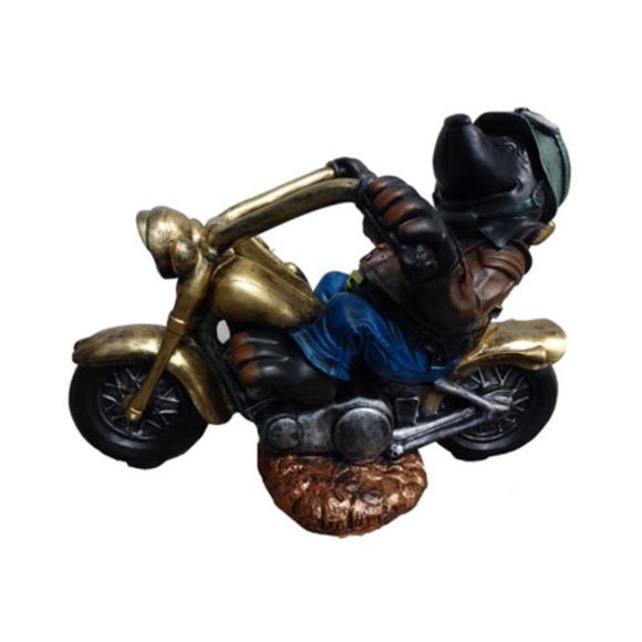 Skulptur Biker auf einem Motorrad Dekoration Statuen Figuren Skulpturen 84cm Neu
