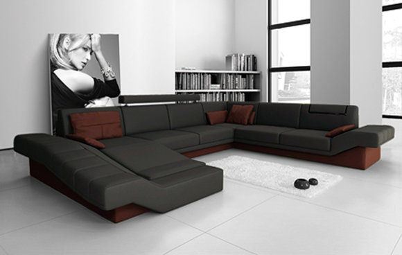 Sofa Wohnlandschaft U Form Couch Ledersofa Polster Big Xxl Design