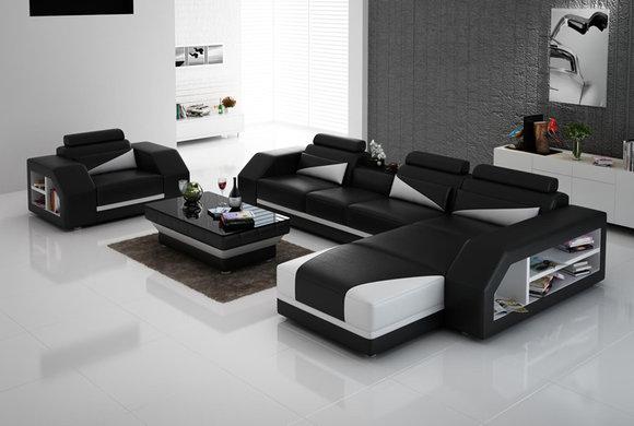 Ledersofa Couch Wohnlandschaft Ecksofa Sessel Eck Design Modern