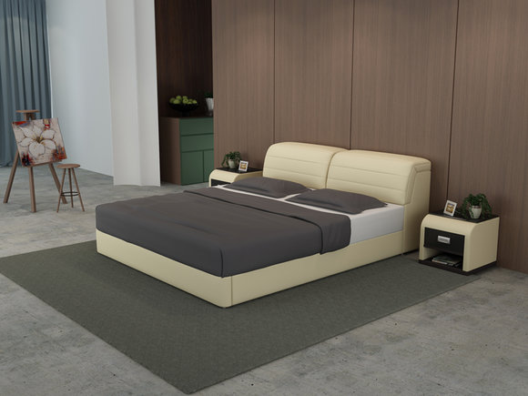 Leder Bett Design Polster Betten Luxus Doppel Modernes Ehe 140 160 180 LB8827