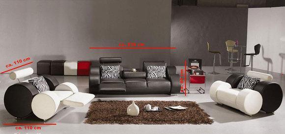 ledersofa mit relaxfunktion sofagarnitur 3 2 1 couch. Black Bedroom Furniture Sets. Home Design Ideas