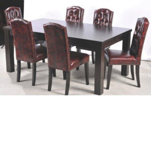 6x Esszimmer Stuhl Stühle Set Komplett Garnitur Sitz Polster Chesterfield  Leder