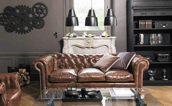 Design Chesterfield Sofa 3-Sitzer Braun Couch Polster Leder Sofas  Wohnzimmer Neu