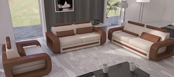 sofagarnitur sofa couch polster leder couchen sofas 3 2 1 set davos garnitur neu