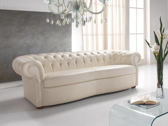 Design Chesterfield Sofa 3 Sitzer Weiß Couch Polster Sofas Wohnzimmer Leder  Neu