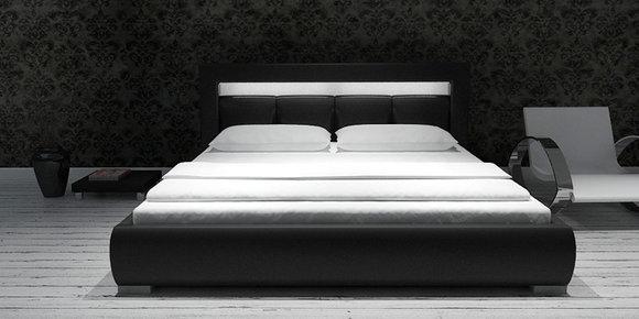 polsterbett lederbett bett moon 140 160 180x200cm. Black Bedroom Furniture Sets. Home Design Ideas