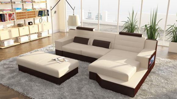 ecksofa l form leder. Black Bedroom Furniture Sets. Home Design Ideas