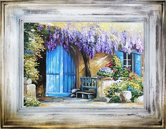 Ölbild Bilder Bild Gemälde Ölgemälde Garten Handarbeit Mit Rahmen G06334
