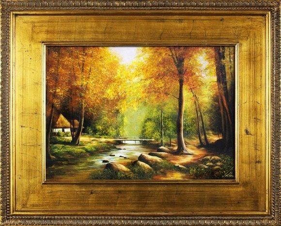 Gemälde Natur Wald Brücke Handarbeit Ölbild Bild Ölbilder Rahmen Bilder G16674