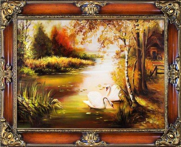 Gemälde Natur Handarbeit Ölbild Bild Ölbilder Rahmen Bilder G1219