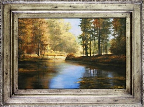 Gemälde Natur Handarbeit Ölbild Bild Ölbilder Rahmen Bilder G17476