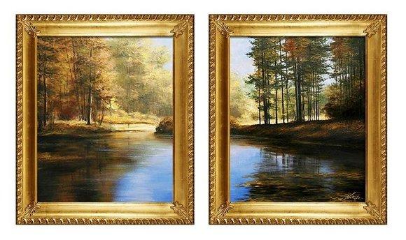 2x Gemälde See Wald Natur Handarbeit Ölbild Bild Ölbilder Rahmen Bilder G94114