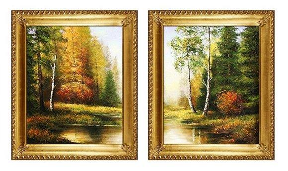 2x Gemälde Natur Wald Öl Handarbeit Ölbild Bild Ölbilder Rahmen Bilder G94112