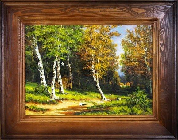 Gemälde Natur Wald Öl Handarbeit Ölbild Bild Ölbilder Rahmen Bilder G16291