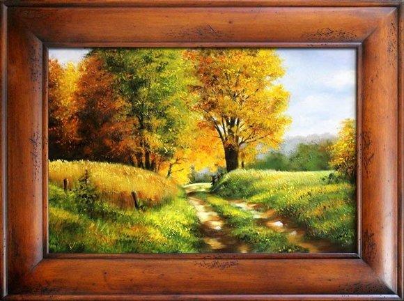 Gemälde Natur Wald Öl Handarbeit Ölbild Bild Ölbilder Rahmen Bilder G17343