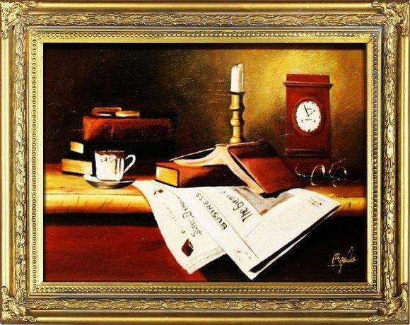 Gemälde Literatur Handarbeit Ölbild Bild Ölbilder Rahmen Bilder G04118