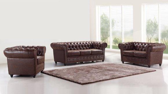 Design Chesterfield 3+2+1 Sofagarnitur Leder Sitz Couch Sofa Polster Garnitur