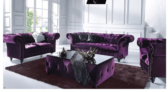 Chesterfield Sofa Samt Schwarz