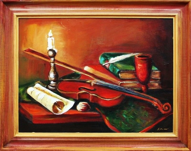 Gemälde Geige Violine Handarbeit Ölbild Bild Ölbilder Rahmen Bilder G03940