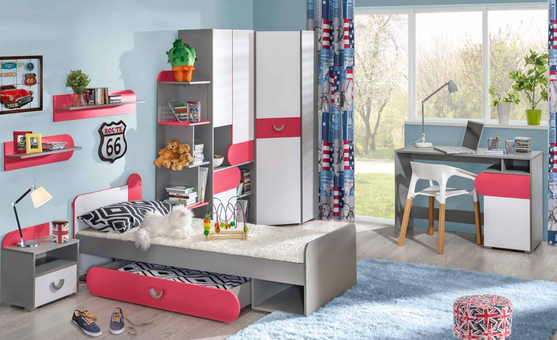 Komplett Jugendzimmer Kinderzimmer Set Bett Kleiderschrank Kommode 7tlg Neu