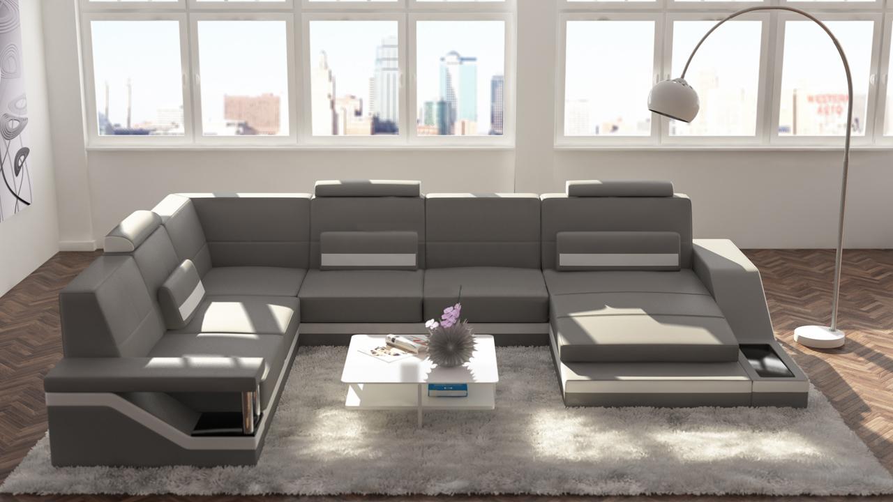 Design Wohnlandschaften Leder Designer Sofa