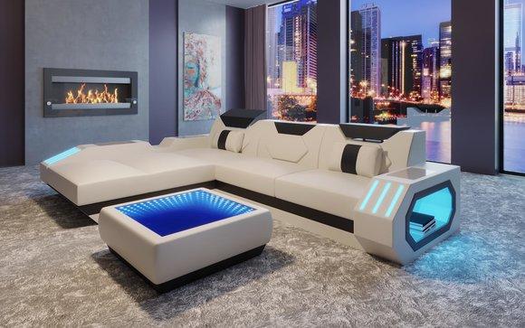 Design Sofa Couch Sitz Leder Polster Garnitur Wohnlandschaft Ecksofa