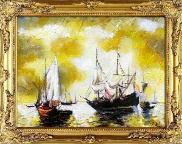 Gemälde Ölbild Bild Ölbilder Rahmen Bilder Seefahrt Meer Schiffe Ölgemälde 06584