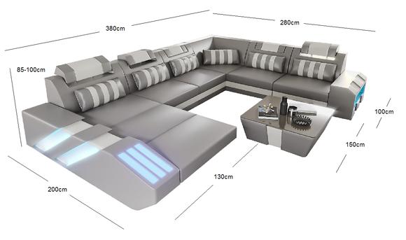 Wohnlandschaft Ledersofa Couch Polster Ecksofa Sofa Big Xxl