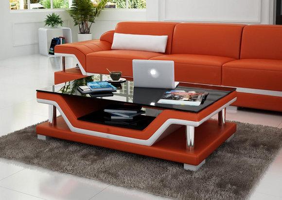 Designer Couchtisch Polster Tisch Leder Glas Moderner