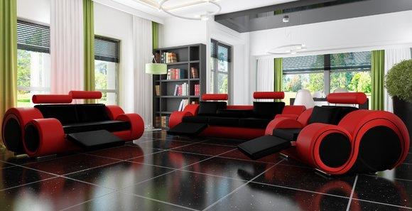 ledersofa mit relaxfunktion sofagarnitur 3 2 1 sitzer. Black Bedroom Furniture Sets. Home Design Ideas