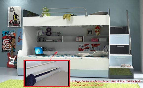 Doppelstockbett Stockbett Bett Doppelbett Etagenbett Betten B003 RAJ2  3 Teilig Schwarz/Weiss